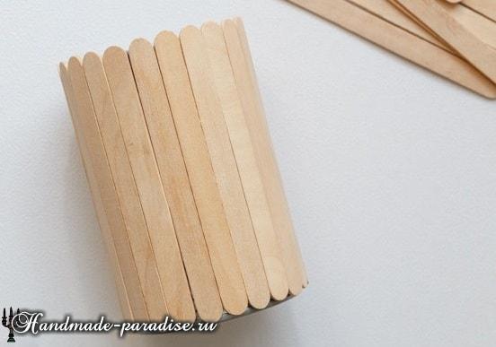 Вазочки из банок и палочек от мороженого (5)