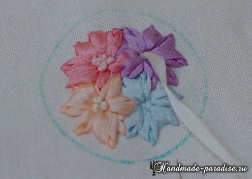 Вышивка лентами цветов для декора заколки (10)