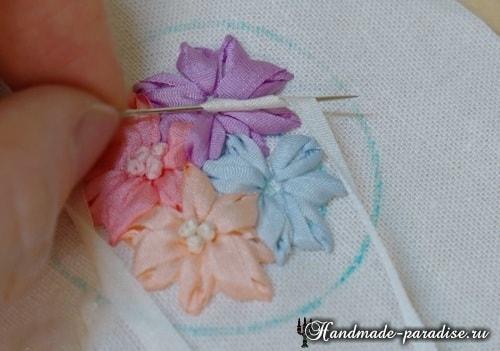Вышивка лентами цветов для декора заколки (11)