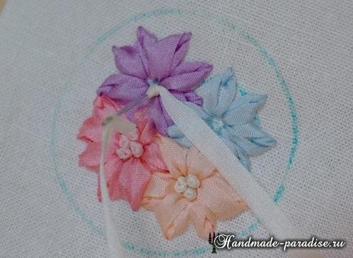 Вышивка лентами цветов для декора заколки (12)