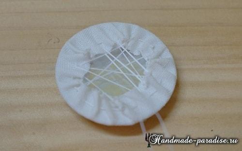 Вышивка лентами цветов для декора заколки (15)