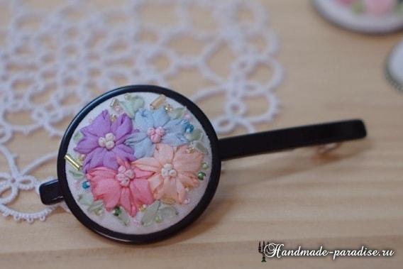 Вышивка лентами цветов для декора заколки (16)