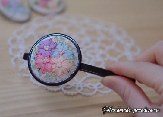Вышивка лентами цветов для декора заколки (2)