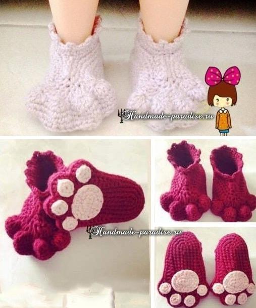 Крючком. Детские носочки «Кошачьи лапки» (2)