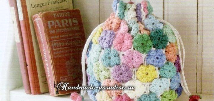 Мешочек крючком разноцветными цветочками