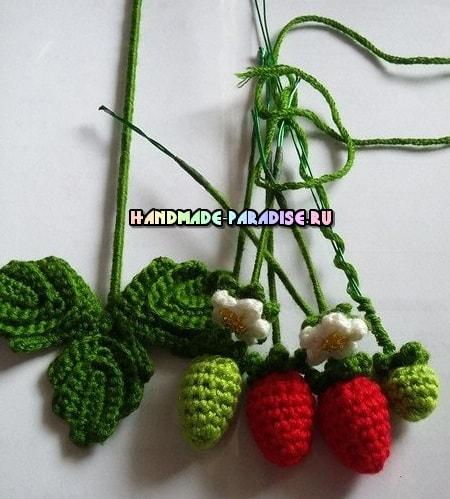 Цветущая клубника крючком. Схемы (3)