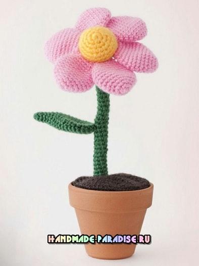 Амигуруми. Объемный цветок крючком (4)