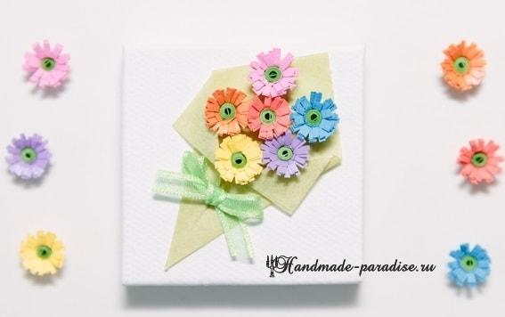 Миниатюрный букетик цветов в технике квиллинг (12)