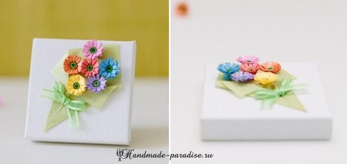 Миниатюрный букетик цветов в технике квиллинг (2)
