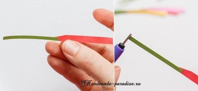 Миниатюрный букетик цветов в технике квиллинг (7)