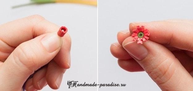 Миниатюрный букетик цветов в технике квиллинг (9)