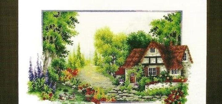 Пейзаж Летняя Тропинка. Схема вышивки крестом