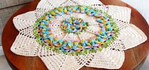 Салфетка Цветочная лужайка. Вязание крючком