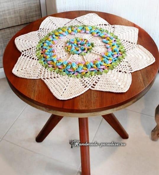 Салфетка Цветочная лужайка. Вязание крючком (2)