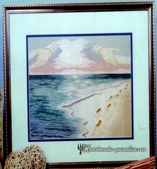 Следы на песке. Схема вышивки крестом (2)