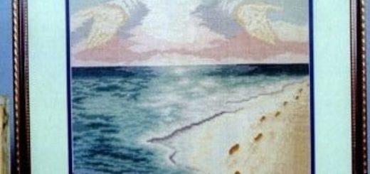 Следы на песке. Схема вышивки крестом