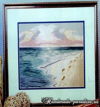 Следы на песке. Схема вышивки крестом (3)