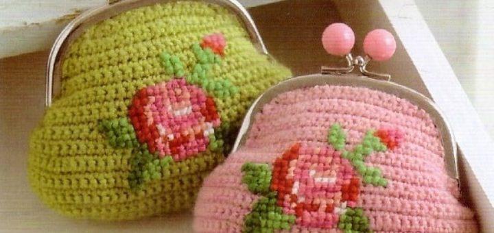 Вязание крючком кошелька с розами