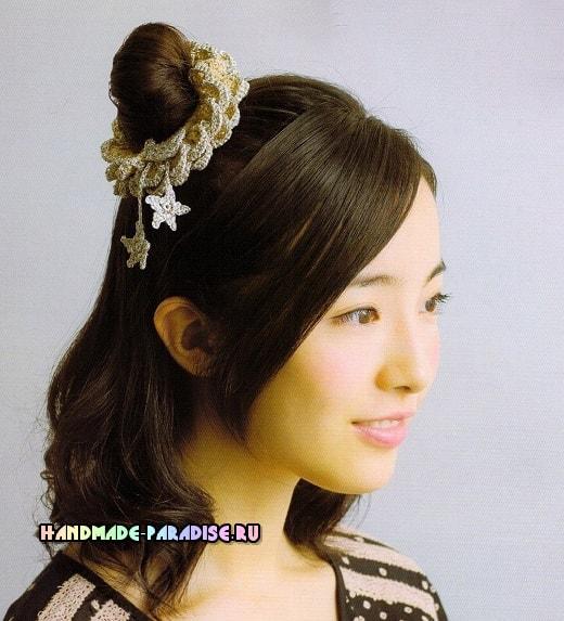 Вязание крючком резинки для волос. Схемы (5)