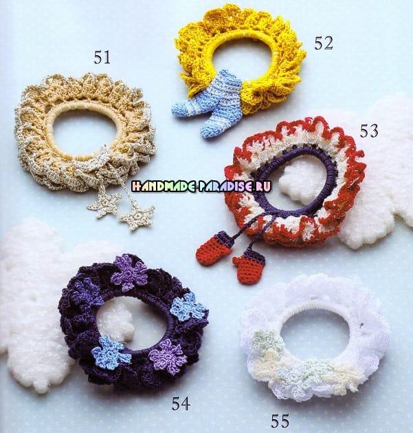 Вязание крючком резинки для волос. Схемы (6)