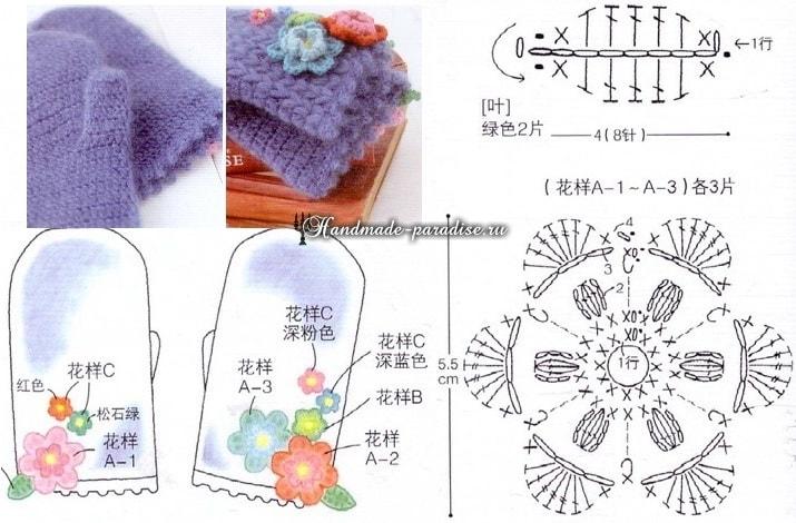Вязание крючком шляпки с розами (2)