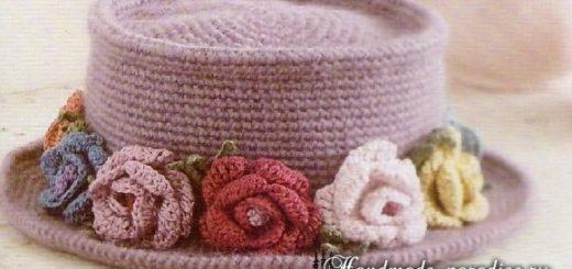 Вязание крючком шляпки с розами. Схема