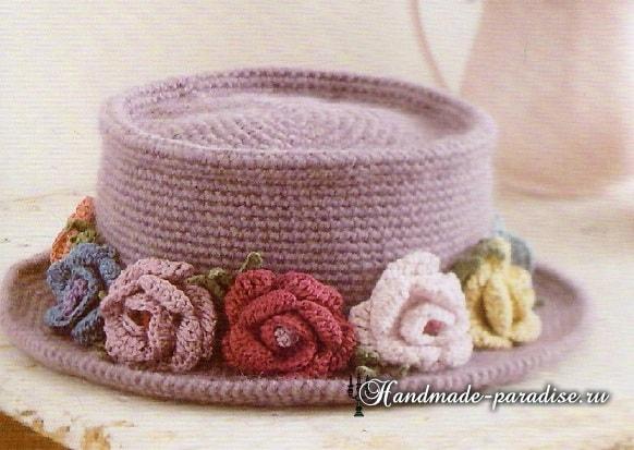 Вязание крючком шляпки с розами. Схема (5)