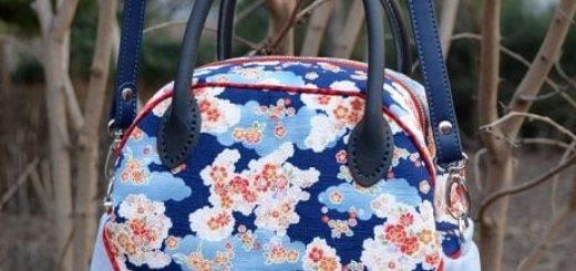 Круглая сумочка с кожаными ручками. Шьем сами
