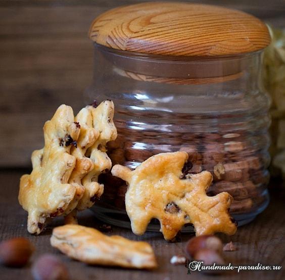 Осенние листья - печенье с орехами и клюквой