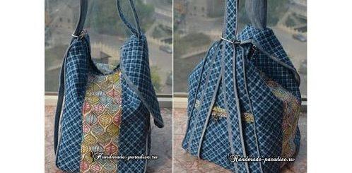 Сумка-рюкзак с джинсовой отделкой
