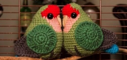 Амигуруми. Попугай Розовощекий Неразлучник
