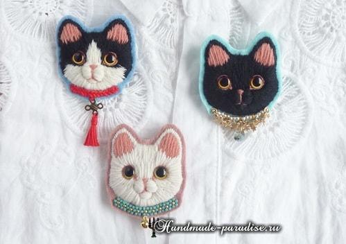 """手工刺绣:影子绣""""小猫""""胸针 - maomao - 我随心动"""