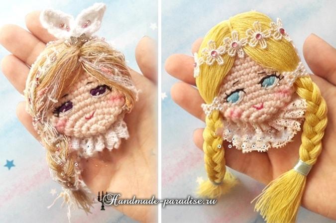 Детская брошка крючком - куколка амигуруми
