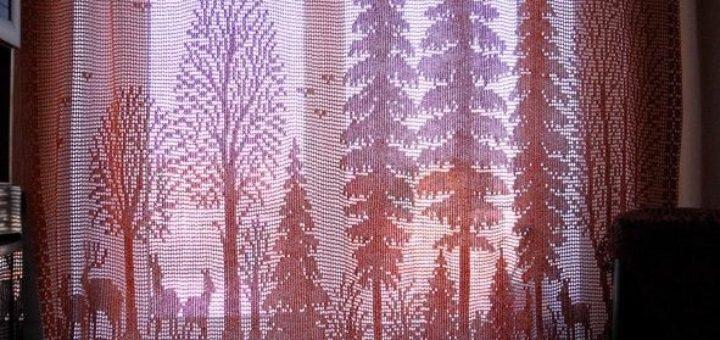 Филейные шторы крючком и вышивка лесной тематики. Схемы