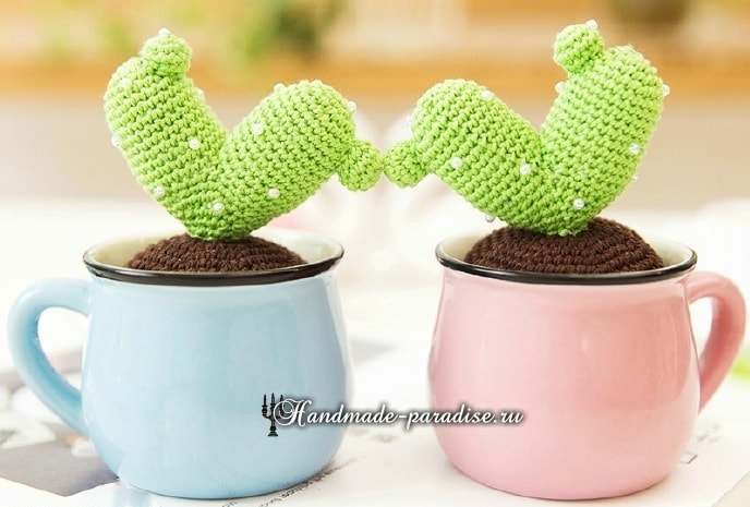 LOVE из вязаных крючком кактусов. Схемы