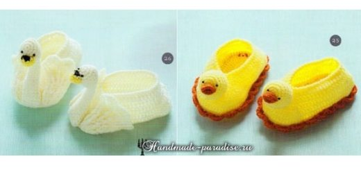 Лебеди и уточки - детские тапочки крючком