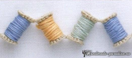 Вязание крючком гирлянды из катушек