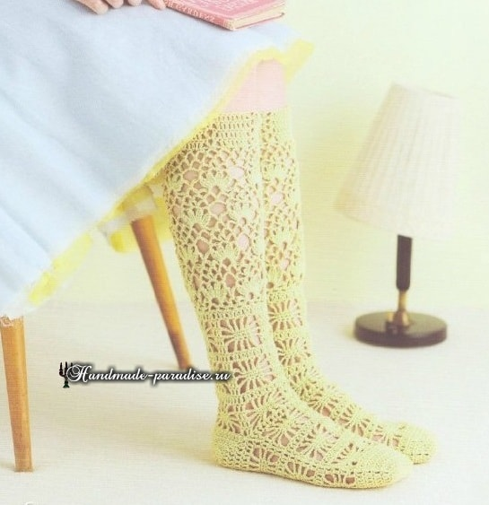 ажурные носочки схемы вязания