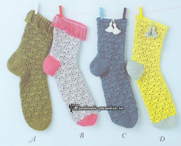 Ажурные гетры и носочки крючком-4