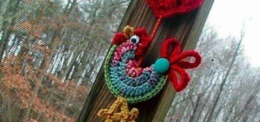 Петушок крючком - подвеска для новогодней елочки