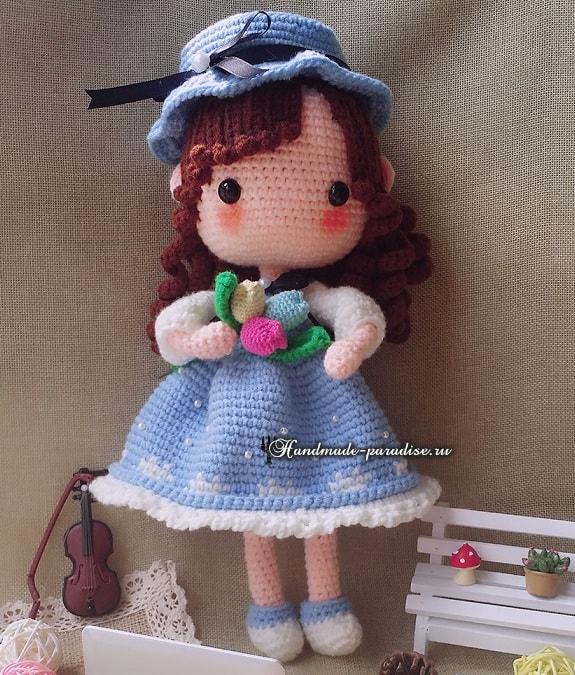 Платьице крючком для куколки амигуруми
