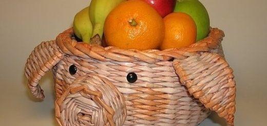 Плетение из газет поросенка - корзинки для фруктов