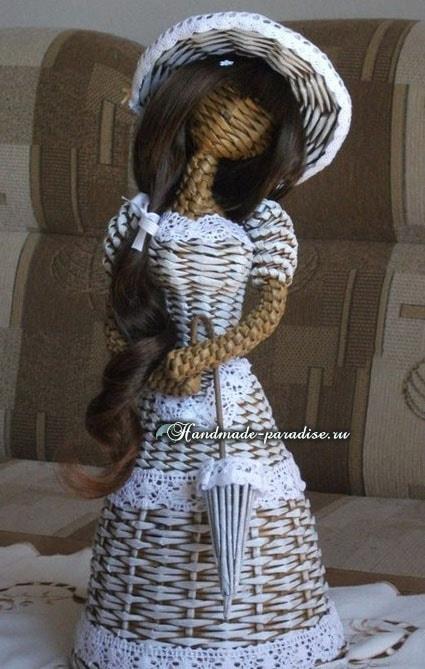 Плетение куклы из газетных трубочек