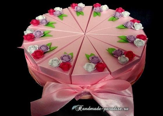 Подарочный торт из бумаги. Шаблон коробочки
