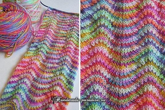 Радужный шарф волнами спицами-2