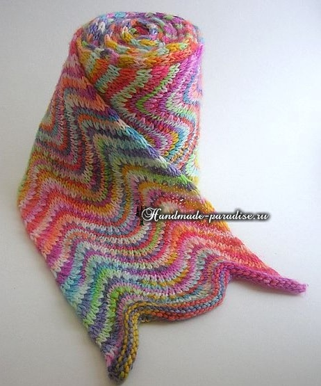 Радужный шарф волнами спицами -3