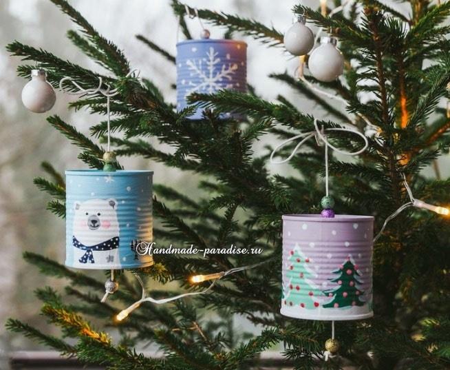 Рождественские фонарики из консервных банок