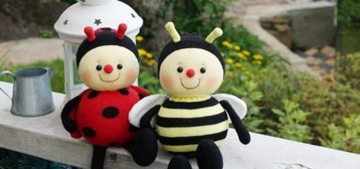 Улитка, пчелка и божья коровка из носков