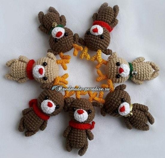 Рождественский олень амигуруми. Вязание крючком
