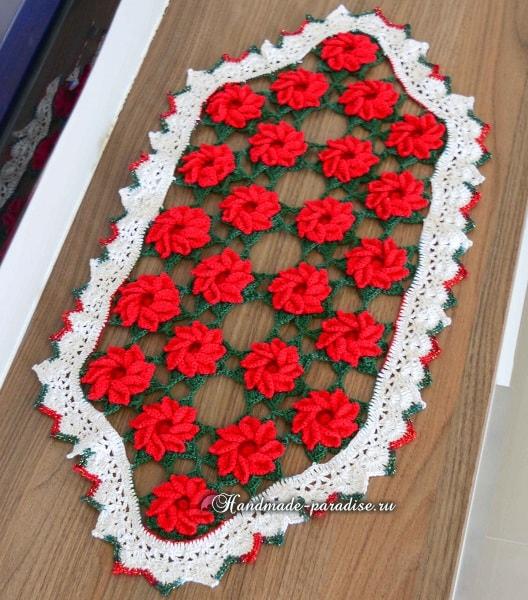 Рождественская салфетка крючком. Схема вязания